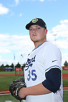 Ryan Burr (35) of the Hillsboro Hops poses for a photo before a game against the Salem-Keizer Volcanoes at Ron Tonkin Field on July 26, 2015 in Hillsboro, Oregon. Hillsboro defeated Salem-Keizer, 4-3. (Larry Goren/Four Seam Images)