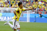 SARANSK - RUSIA, 19-06-2018: Juan QUINTERO jugador de Colombia celebra después de anotar el primer gol de su equipo a Japón durante partido de la primera fase, Grupo H, por la Copa Mundial de la FIFA Rusia 2018 jugado en el estadio Mordovia Arena en Saransk, Rusia. /  Juan QUINTERO player of Colombia celebrates after scoring the first goal of his team to Japón during match of the first phase, Group H, for the FIFA World Cup Russia 2018 played at Mordovia Arena stadium in Saransk, Russia. Photo: VizzorImage / Julian Medina / Cont
