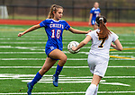 WOODBURY, CT-111120JS09 —Nonnewaug's Samantha Conti (18) settles the ball in front of Wolcott Tech's Alivia Deland (7) during their game Wednesday at Nonnewaug High School. <br /> Jim Shannon Republican-American