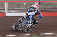 Heat 4: Piotr Swiderski of Lakeside - Vortex Lakeside Hammers vs Kings Lynn Stars - Sky Sports Elite League Speedway at Arena Essex Raceway, Purfleet - 23/04/13 - MANDATORY CREDIT: Gavin Ellis/TGSPHOTO - Self billing applies where appropriate - 0845 094 6026 - contact@tgsphoto.co.uk - NO UNPAID USE.