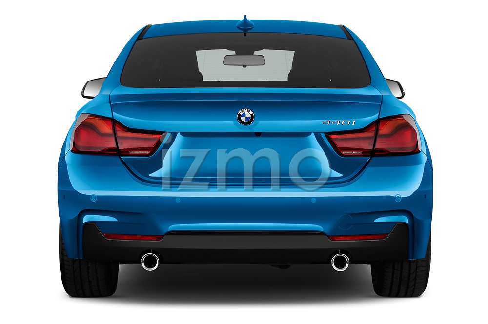Straight rear view of 2017 BMW 4 Series Gran Coupe M Sport 5 Door Hatchback stock images