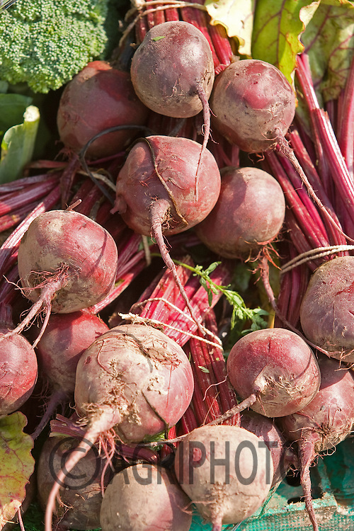 Beetroot On A Stall At A Farmers Market In Devon