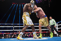 """Romainian-born Canadian prizefighter Lucian Bute challenges world super middleweight champion Badou """"the Ripper"""" Jack in Washington DC, April 30, 2016.<br /> <br /> <br /> PHOTO : Donovan Marks - Agence Quebec presse"""