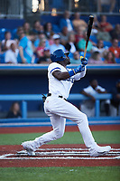 Jared Mitchell (3) of the High Point Rockers at bat against the Southern Maryland Blue Crabs at Truist Point on June 18, 2021, in High Point, North Carolina. (Brian Westerholt/Four Seam Images)