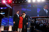 Boston, Mass..USA.July 27, 2004..Thee National Democratic Convention in Boston. Teresa Heinz Kerry the wife of Senator John Kerry after her speech on stage with her two sons.