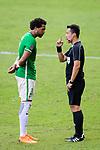 FIFA Referee Liu Kwok Man (R) talks to Eduardo Praes of Wofoo Tai Po (L) during the Hong Kong FA Cup final between Kitchee and Wofoo Tai Po at the Hong Kong Stadium on May 26, 2018 in Hong Kong, Hong Kong. Photo by Marcio Rodrigo Machado / Power Sport Images