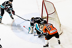 Cathay Flyers Goalie Jasen Await (C) fights for the puck with Lucas Eshleman of HK Tigers (R) during the Mega Ice Hockey 5s match between Cathay Flyers and HK Tigers on May 04, 2018 in Hong Kong, Hong Kong. Photo by Marcio Rodrigo Machado / Power Sport Images