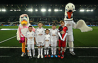 SWANSEA, WALES - MARCH 16: Children mascots<br /> Re: Premier League match between Swansea City and Liverpool at the Liberty Stadium on March 16, 2015 in Swansea, Wales