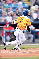 Beer City Tourists first baseman Joel Diaz (5) swings at a pitch during a game against the Lakewood BlueClaws at McCormick Field on June 1, 2017 in Asheville, North Carolina. The Tourists defeated the BlueClaws 8-5. (Tony Farlow/Four Seam Images)