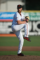 San Jose Giants starting pitcher Conner Menez (34) delivers a pitch during a California League game against the Modesto Nuts at San Jose Municipal Stadium on May 15, 2018 in San Jose, California. Modesto defeated San Jose 7-5. (Zachary Lucy/Four Seam Images)