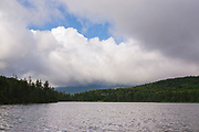 Franconia Notch State Park - Lonesome Lake in the White Mountains, New Hampshire USA on a cloudy day. This lake is located long the Appalachian Trail
