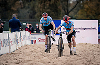 Eli Iserbyt (BEL/Pauwels Sauzen-Bingoal) on his way to becoming European Champion, followed closely by teammate Michael Vanthourenhout (BEL/Pauwels Sauzen-Bingoal)<br /> <br /> UEC Cyclocross European Championships 2020 - 's-Hertogenbosch (NED)<br /> <br /> Elite MEN<br /> <br /> ©kramon