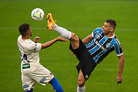 13th September 2020; Arena do Gremio Stadium, Porto Alegre, Brazil; Brazilian Serie A, Gremio versus Fortaleza; Diego Souza of Gremio and Ronald of Fortaleza challenge for a high ball