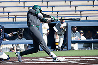 Michigan State first baseman Brock Vradenburg (48) swings the bat against the Michigan Wolverines on March 21, 2021 in NCAA baseball action at Ray Fisher Stadium in Ann Arbor, Michigan. Michigan scored 8 runs in the bottom of the ninth inning to defeat the Spartans 8-7. (Andrew Woolley/Four Seam Images)
