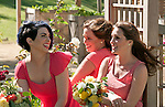 Bridesmaids wait their turn to be photographed