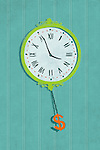 Illustrative image of wall clock with dollar sign hanging representing time management