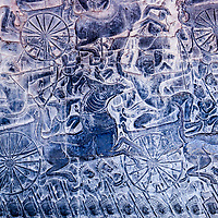 Cambodia, Angkor Wat.  Detail of Bas-relief Showing the Kaurava Army Advancing into the Battle of Kurukshetra.