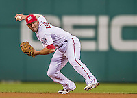 20 May 2014: Washington Nationals infielder Danny Espinosa gets Brayan Pena out in the 4th inning against the Cincinnati Reds at Nationals Park in Washington, DC. The Nationals defeated the Reds 9-4 to take the second game of their 3-game series. Mandatory Credit: Ed Wolfstein Photo *** RAW (NEF) Image File Available ***