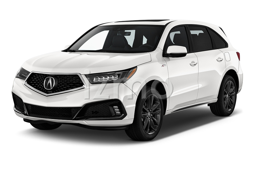 2019 Acura MDX A-Spec 5 Door SUV Angular Front automotive stock photos of front three quarter view