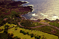 Aerial of the lush coastline at South Point on the Big Island of Hawaii.