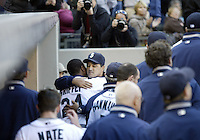 04 October 2009: Seattle Mariners manager Don Wakamatsu hugs Ken Griffey Jr after he was pulled out of the game in the 8th inning against the Texas Rangers. Seattle won 4-3 over the Texas Rangers at Safeco Field in Seattle, Washington.