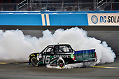 #16: Brett Moffitt, Hattori Racing Enterprises, Toyota Tundra KOBE celebrates his win with a burnout