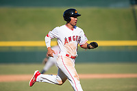 Mesa Solar Sox second baseman Jahmai Jones (9), of the Los Angeles Angels organization, runs home during an Arizona Fall League game against the Salt River Rafters at Sloan Park on November 9, 2018 in Mesa, Arizona. Mesa defeated Salt River 5-4. (Zachary Lucy/Four Seam Images)