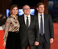 """Italian director and actor Carlo Verdone (C) poses with his sons Giulia and Paolo on the red carpet for the movie """"Vita da Carlo"""" at the 16th edition of the Rome Film Fest in Rome, on October 22, 2021.<br /> UPDATE IMAGES PRESS/Isabella Bonotto"""