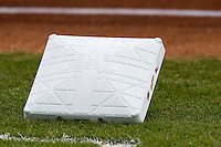 First base bag on May 10, 2015 at Nelson Wolff Stadium in San Antonio, Texas. The Missions defeated the Hooks 6-5. (Andrew Woolley/Four Seam Images)