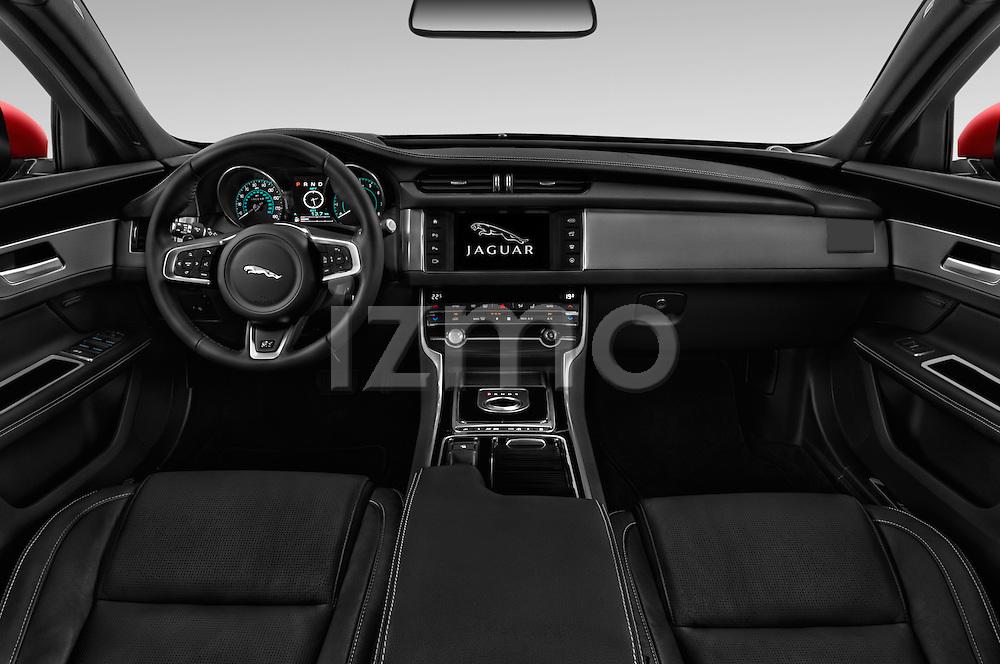 Stock photo of straight dashboard view of 2018 Jaguar XF 35t-R-Sport 4 Door Sedan Dashboard