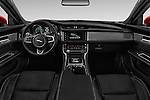 Stock photo of straight dashboard view of 2018 Jaguar XF 35t-R-Sport 4 Door Sedan Dashboard