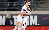 JACKSONVILLE, FL - NOVEMBER 10: Morgan Brian #6 of the United States celebrates her goal with teammate Rose Lavelle #16 during a game between Costa Rica and USWNT at TIAA Bank Field on November 10, 2019 in Jacksonville, Florida.