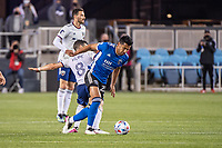 SAN JOSE, CA - MAY 01: Felipe Martins #8 of DC United challenges Andres Rios #25 of the San Jose Earthquakes during a game between San Jose Earthquakes and D.C. United at PayPal Park on May 01, 2021 in San Jose, California.