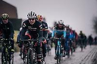 John Degenkolb (DEU/Trek-Segafredo) over the cobbles of the Lippenhovestraat<br /> <br /> 102nd Ronde van Vlaanderen 2018 (1.UWT)<br /> Antwerpen - Oudenaarde (BEL): 265km