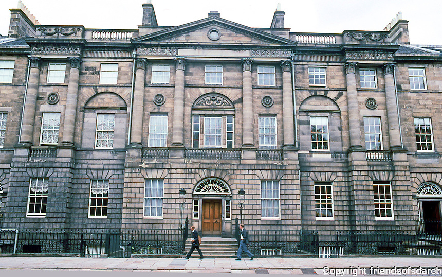Edinburgh: Charlotte Square--North  side. City square, part of New Town completed in 1820.  Designed by Robert Adam. Photo '87.