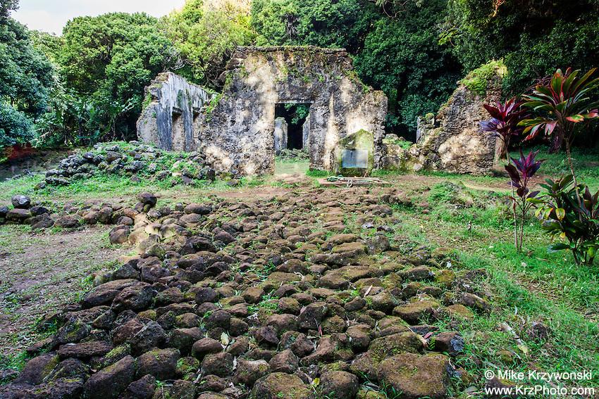 Stone walkway leading to the Kaniakapupu Ruins aka King Kamehameha III Summer Home, Nu'uanu Valley, Oahu