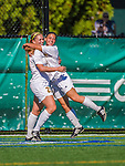 29 September 2013: University of Vermont Catamount Forward Bre Pletnick (left), a Junior from Levittown, PA, celebrates her goal with Forward Nikki McFarland (right), a Freshman from Deer Park, NY, during a game against the Stony Brook University Seawolves at Virtue Field in Burlington, Vermont. The Lady Cats fell to the visiting Seawolves 2-1 in America East play. Mandatory Credit: Ed Wolfstein Photo *** RAW (NEF) Image File Available ***