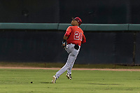 AZL Angels center fielder Jordyn Adams (21) pursues a deep fly ball during an Arizona League game against the AZL Dodgers at Camelback Ranch on July 8, 2018 in Glendale, Arizona. The AZL Dodgers defeated the AZL Angels by a score of 5-3. (Zachary Lucy/Four Seam Images)