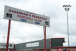 Dagenham and Redbridge 1 Burton Albion 3, 21/02/2015. Victoria Road, League Two. Entrance to the London Borough of Barking and Dagenham Stadium. Burton Albion moved to the top of League Two following a hard-fought win over Dagenham & Redbridge played in-front of 1,718 supporters. Photo by Simon Gill.