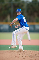Christopher Rowell (20), from Turnersville, New Jersey, while playing for the Dodgers during the Baseball Factory Pirate City Christmas Camp & Tournament on December 28, 2017 at Pirate City in Bradenton, Florida.  (Mike Janes/Four Seam Images)