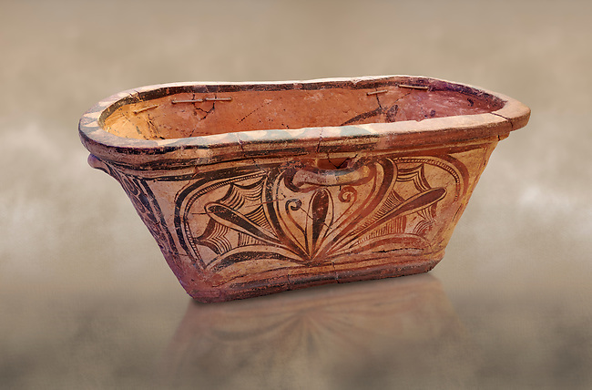 Minoan  pottery bath tub larnax decorated with a stylised crocus flower ,  Episkopi-Lerapetra 1350-1250 BC, Heraklion Archaeological  Museum.<br /> <br /> To the Greeks, the Underworld was entered by water. As with many other Minoan bathtubs, this one was probably later used as a coffin to convey the deceased across the sea, where marine imagery would be equally appropriate. The two functions of bathtubs, bathing and burial, combine in the story of Agamemnon who, on return from Troy, was murdered by his wife and her lover in a silver bath.