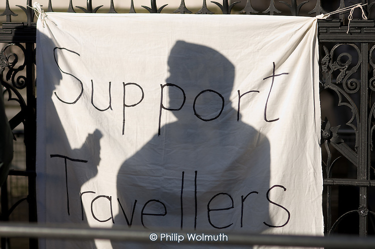 Banner in support of Dale Farm travellers outside the Royal Courts of Justice, London