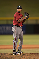 AZL Diamondbacks relief pitcher Ezequiel De La Cruz (14) prepares to deliver a pitch during an Arizona League game against the AZL Cubs 1 at Sloan Park on June 18, 2018 in Mesa, Arizona. AZL Diamondbacks defeated AZL Cubs 1 7-0. (Zachary Lucy/Four Seam Images)