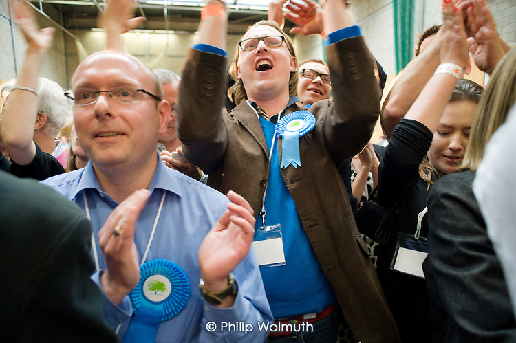 Supporters of defeated Conservative candidate Chris Philp after Labour MP Glenda Jackson holds the marginal seat of Hampstead and Kilburn by 42 votes in the 2010 General Election.