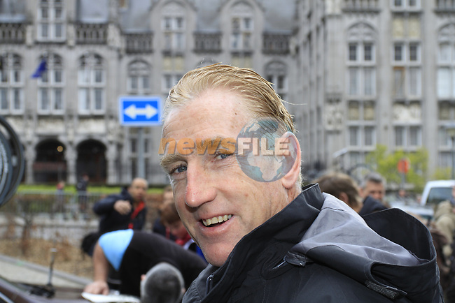 Sean Kelly (IRL) former multiple champion cyclist and now Eurosport TV commentator at the start of the 98th edition of Liege-Bastogne-Liege outside the Palais des Princes-Eveques, running 257.5km from Liege to Ans, Belgium. 22nd April 2012.  <br /> (Photo by Eoin Clarke/NEWSFILE).