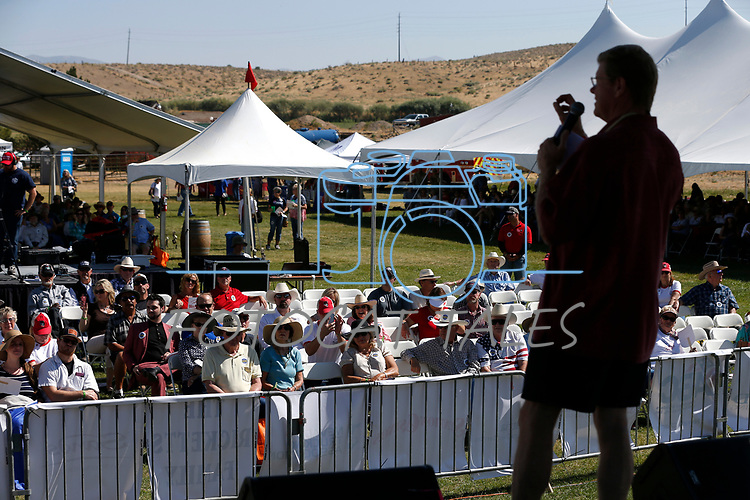 U.S. Rep. Mark Amodei speaks to the crowd at the 4th annual Basque Fry in Gardnerville, Nev., on Saturday, Aug. 25, 2018. Hosted by the Morning in Nevada PAC, the event is a fundraiser for conservative candidates and issues and includes traditional Basque dishes like deep-fried lamb testicles. (Cathleen Allison/Las Vegas Review Journal)
