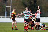 Tom Baldwin of Blackheath Rugby disputes the referee's decision during the English National League match between Richmond and Blackheath  at Richmond Athletic Ground, Richmond, United Kingdom on 4 January 2020. Photo by Carlton Myrie.