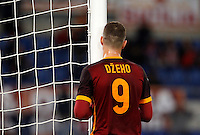 Calcio, Serie A:  Roma vs Palermo. Roma, stadio Olimpico, 21 febbraio 2016. <br /> Roma's Edin Dzeko reacts after failing to score during the Italian Serie A football match between Roma and Palermo at Rome's Olympic stadium, 21 February 2016.<br /> UPDATE IMAGES PRESS/Riccardo De Luca