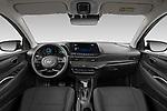 Stock photo of straight dashboard view of 2021 Hyundai Bayon Techno 5 Door SUV Dashboard