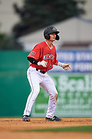 Batavia Muckdogs Jack Strunc (47) leads off during a NY-Penn League game against the Lowell Spinners on July 11, 2019 at Dwyer Stadium in Batavia, New York.  Batavia defeated Lowell 5-2.  (Mike Janes/Four Seam Images)
